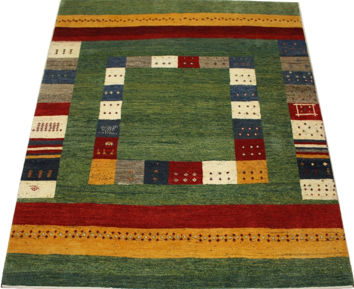 ウール100% ギャッベ絨毯 手織り PG5660 (Y) 約198×281cm グリーン系 天然草木染め 高級ペルシャギャベ ラグ カーペット ファーハディアン FARHADIAN お買い物マラソン