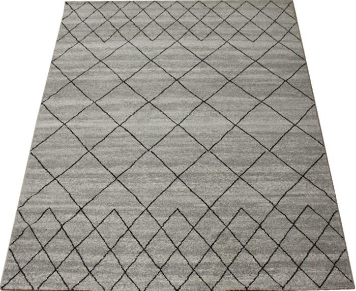 輸入カーペット 絨毯 トルコ製 約21万ノット ウィルトン織り エル60611(K) 約160×230cm ベージュ(653) グレー系 格子柄 ELLE#60611 半額以下