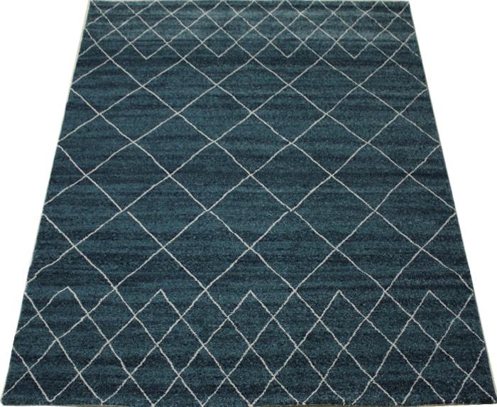 輸入カーペット 絨毯 トルコ製 約21万ノット ウィルトン織り エル60611(K) 約140×200cm ブルー(394) 格子柄 ELLE#60611