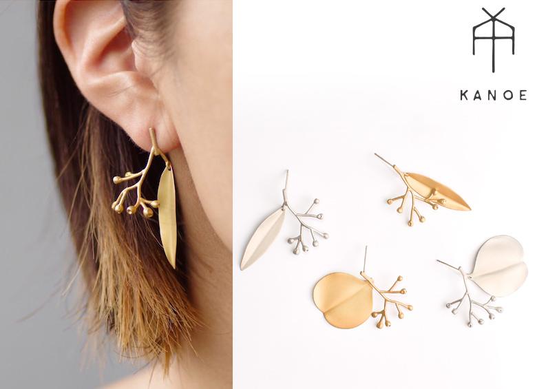 【KANOE】ユーカリのポポラスをモチーフにしたピアス Polyanthemos pierced earrings/ ポポラスピアス