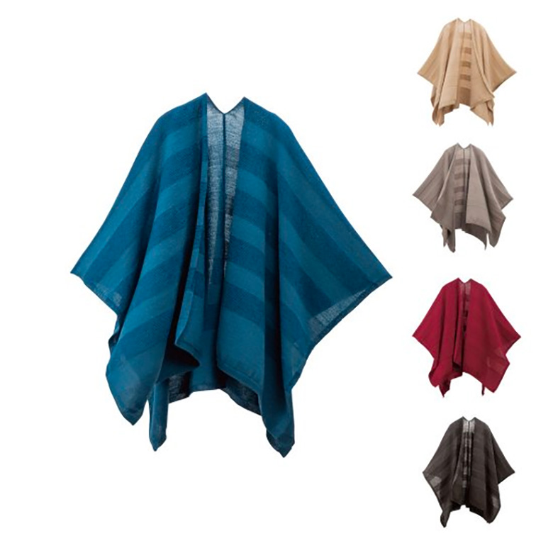 mino 洗濯機で洗える ウール ポンチョ ボーダー winter tate-S / 洗えるmino wool border