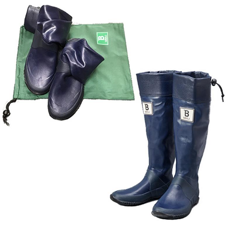 日本野鳥の会 バードウォッチング長靴 セール特価 限定色 数量限定 ネイビー レインブーツ 軽くて折り畳み可能 レディース 営業 メンズ