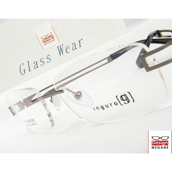 【送料無料】メガネ 度付き/度なし/伊達メガネ/pc用レンズ対応/【メガネ通販】Inguro Eyewear Gunmetal ふちなし ツーポイント チタン素材 眼鏡一式【重さ14gの軽量設計】【smtb-m】