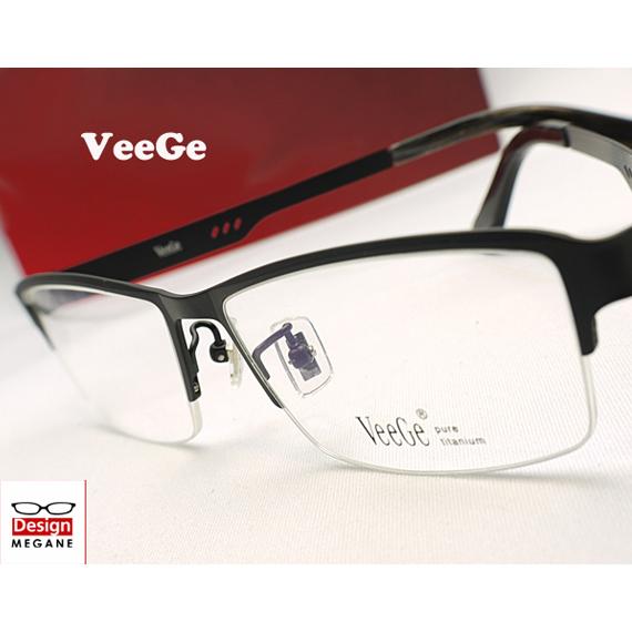 【送料無料】メガネ 度付き/度なし/伊達メガネ/pc用レンズ対応/【メガネ通販】VeeGe Eyewear Black 純チタン素材 スクエアフレーム 眼鏡一式 《今だけ送料無料》【smtb-m】