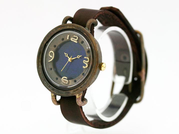 en 二重丸 (Blue) 手作り腕時計