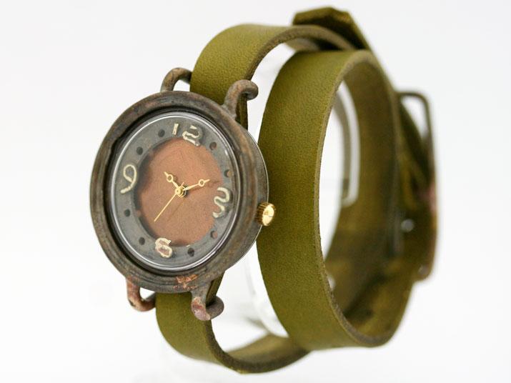送料無料 en 二重丸 (Orenge 二重巻 )手作り腕時計
