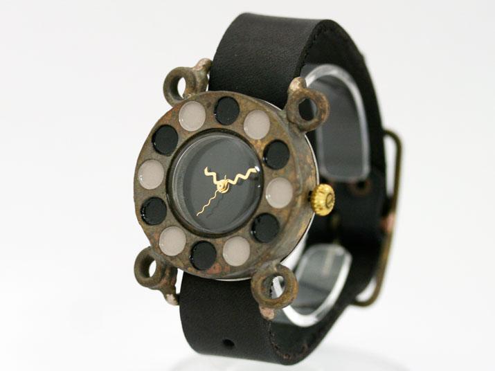 送料無料 en 黒電話 J BK 手作り腕時計