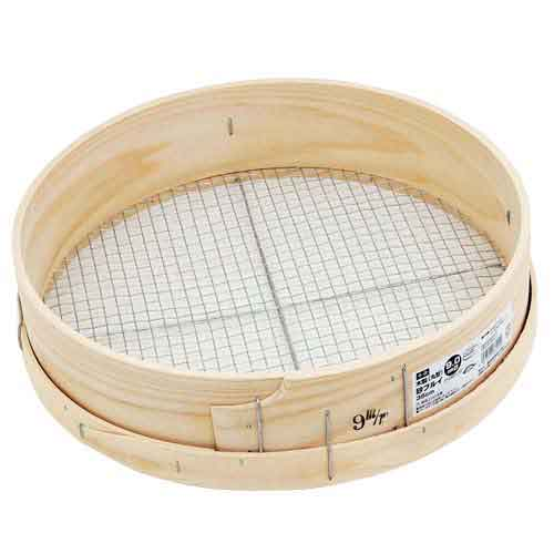 園芸道具 その他園芸道具のフルイ9.0MM 穀物や土 砂のフルイ作業に最適です  千吉 木製砂フルイ 丸型 35CM 9.0MM