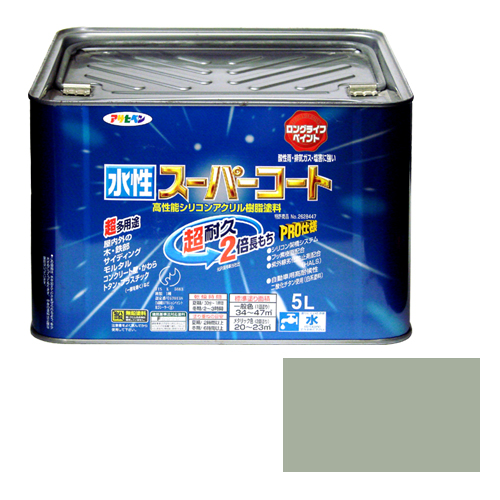 アサヒペン 多用途ー水性スーパーコート 5Lーソフトグレー