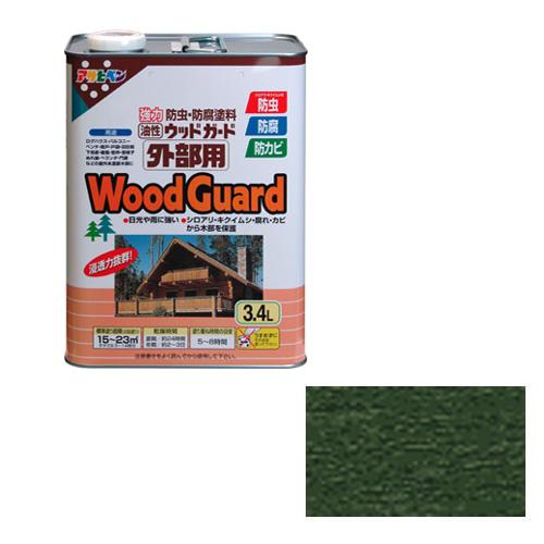 アサヒペン 油性ウッドガード外部用 3.4Lコロラドグリーン