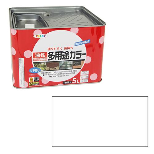 アサヒペン 油性多用途カラー 5Lシロ