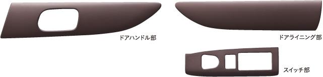 HONDA ホンダ 純正 NBOX N-BOX エヌボックス インテリアパネル:ドアライニング/ドアハンドル/スイッチ部(6枚セット/ブラウン) 2011.11~2012.11