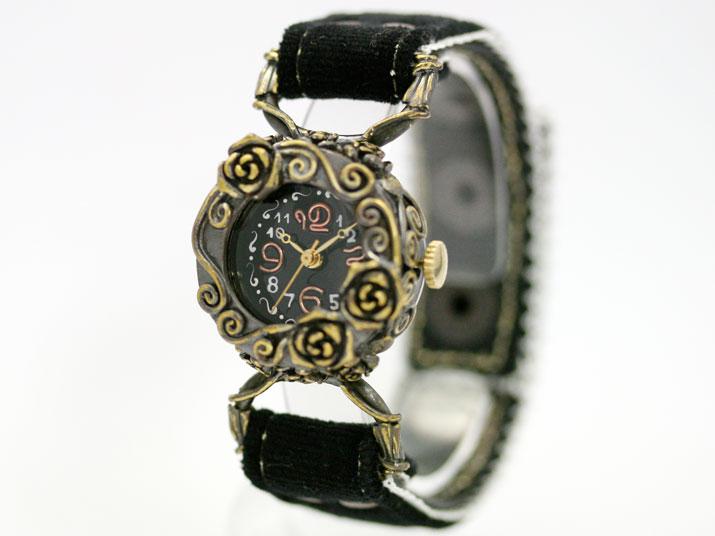 送料無料 Kaori Gothic Rose b 手作り腕時計