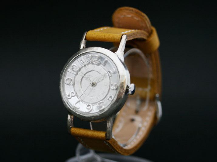 送料無料 Ks ULTRA SLIM SILVER手作り腕時計