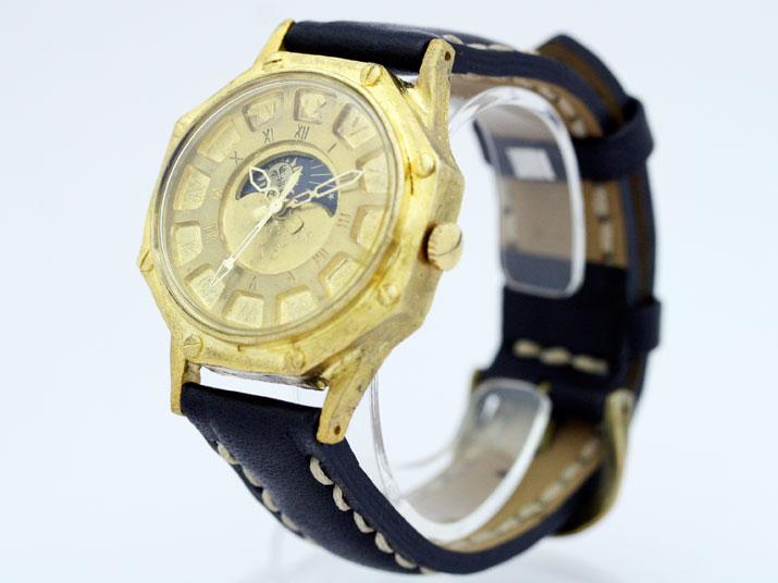 送料無料 Ks FLY BACK (SUN&MOON) OCTAGON ローマ手作り腕時計