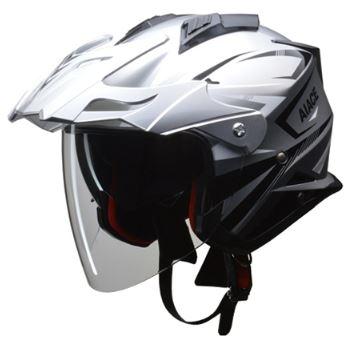 LEAD リード工業 AIACE アドベンチャーヘルメット シルバー Mサイズ | おすすめ ジェット ヘルメット ヘルメ バイク 原付 レディース シールド インナー 内装 バイザー 着脱 交換 かっこいい シルバー 風 雨 対策 あご紐 ワンタッチ バイク用品 リード ポイント消化