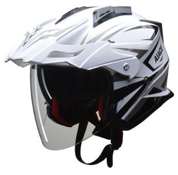 LEAD リード工業 AIACE アドベンチャーヘルメット ホワイト Lサイズ | おすすめ ジェット ヘルメット ヘルメ バイク 原付 レディース シールド インナー 内装 バイザー 着脱 交換 かっこいい ホワイト 風 雨 対策 あご紐 ワンタッチ バイク用品 リード ポイント消化