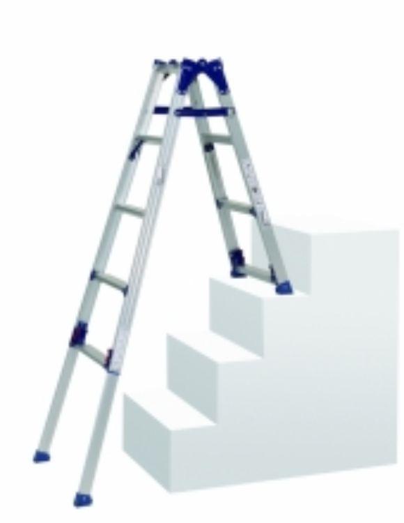 ピカコーポレーション PiCa 四脚アジャスト式はしご兼用脚立 階段用 SCL 階段使用時1.24~1.68 平地使用時1.24~1.39 SCL-34A | 脚立 ピカ 折りたたみ アルミ 工事 照明 用品 はしご 脚立 プロ 職人 整備 洗車 DIY