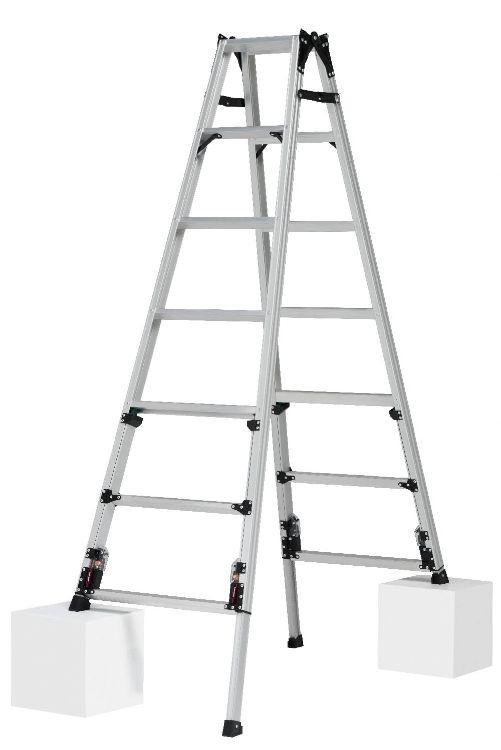 ピカコーポレーション PiCa 四脚アジャスト式はしご兼用脚立 上部操作タイプ SCN スタンダードタイプ スタッピー 1.82~2.13 SCN-210A   脚立 ピカ 折りたたみ アルミ 工事 照明 用品 はしご 脚立 プロ 職人 整備 洗車 DIY