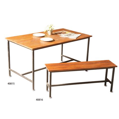 EWIG アイアンダイニングテーブル アカシアウッド アイアン W140 D80 H72cm