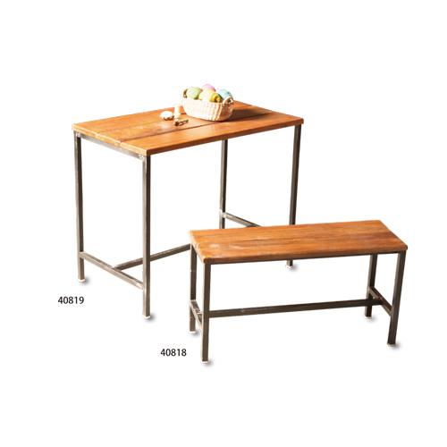 EWIG アイアンコンソールテーブル アカシアウッド アイアン W95 D55 H76cm