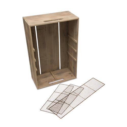 メッシュパーテーションボックス アイアン 杉 W40 D20 H60cm