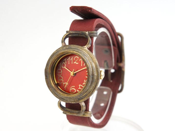 en 籠 (赤茶) 手作り腕時計