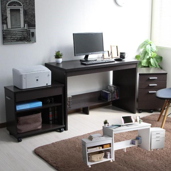エントリーでポイント5倍!期間限定 パソコンデスク 書斎机 システムデスク 110cm幅 システムデスク3点セット デスク+チェスト+ラック パソコンデスク pcデスク 110cm おしゃれ 収納 木製 CPB031N