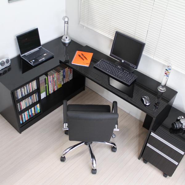 オフィスデスク パソコンデスク デスク コーナーデスク L字型 三角 高級ブラック鏡面 最大210cm幅 ハイタイプ 3点セット デスク+書棚+チェスト pcデスク JS143BK 送料無料