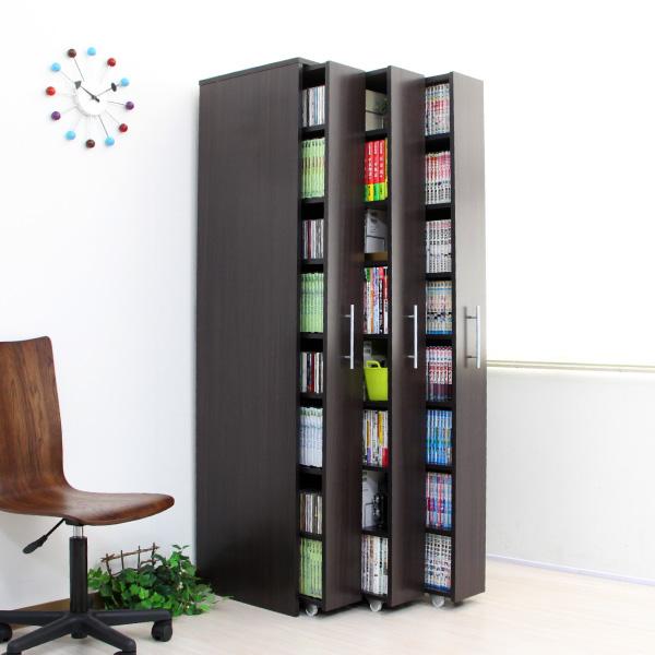 3連 スリムラック 本棚 薄型 スライド コミック収納 漫画収納 マンガ収納 キャスター付き 書棚 大容量 木製