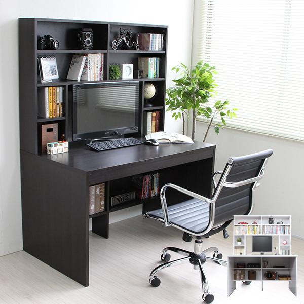 ポイント5倍!期間限定 パソコンデスク ハイデスク 書棚 115cm幅 書棚デスク ハイタイプ 省スペース シンプル ホワイト ダークブラウン pcデスク 北欧 おしゃれ 収納 木製 TCP360 限定特価