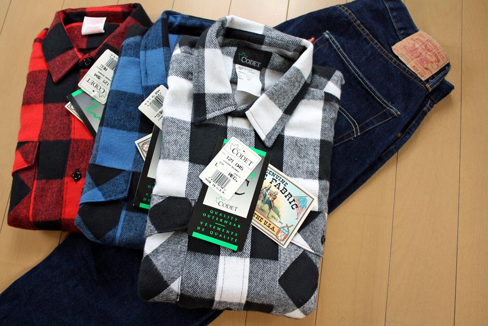 【送料無料】アメリカ製 Vintage デッドストック ネルシャツ CODET CDL02WHT