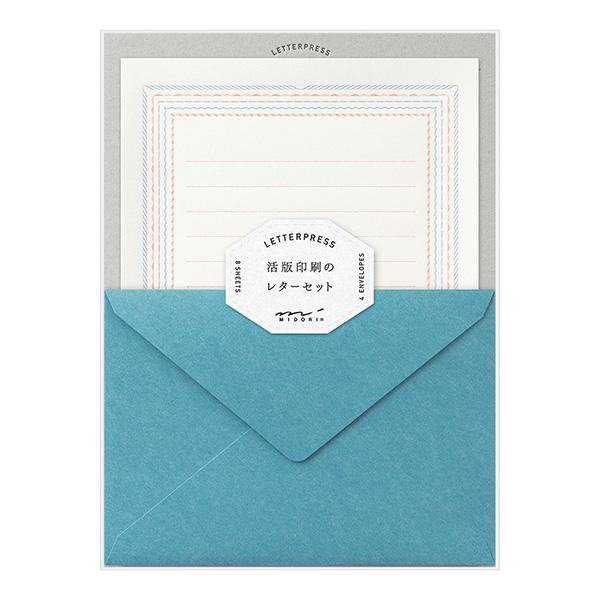ネコポス対応 活版印刷によるシンプルで美しい大人のためのレターセット 2020 ミドリ midori レターセット 活版印刷 フレーム柄 青 ミドリデザインフィル 購入 86463 あす楽 シンプル おしゃれ 大人
