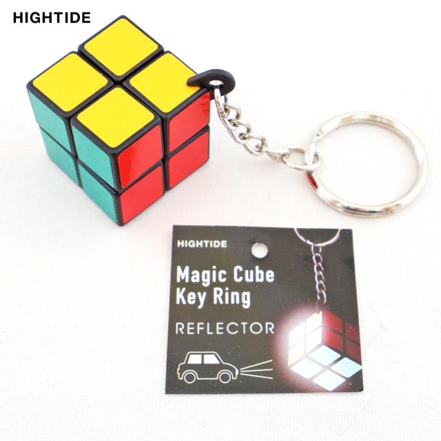 ネコポスOK 暗がりで光る 小さなマジックキューブのキーホルダー 反射板 ルービックキューブ 立体パズル おもちゃ かわいい GZ145 大人気! キーリング HIGHTIDE 大人気 あす楽 マジックキューブキーホルダー ネコポス リフレクター ハイタイド