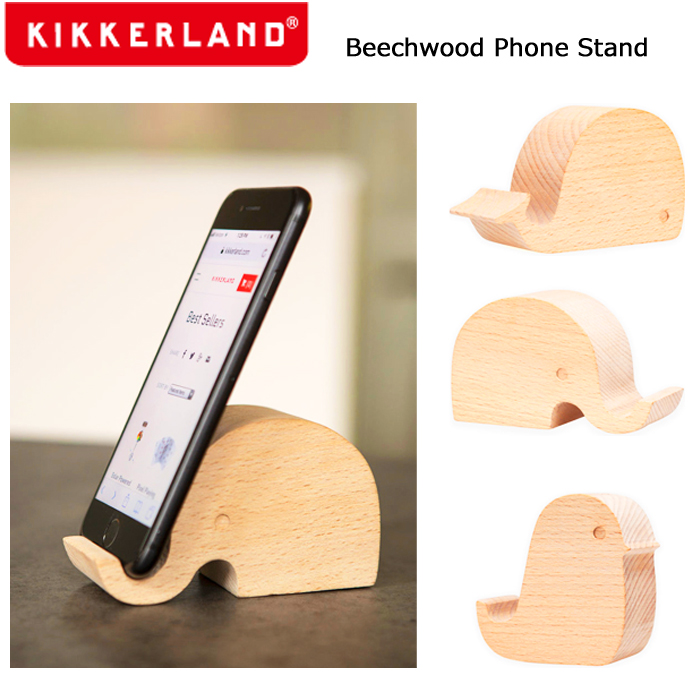 アニマルモチーフのナチュラルな木製PhoneStand スマホ立て 豪華な スマホ台 スマホ置き スマホスタンド 携帯立て ブナ材 かわいい おしゃれ プレゼント 動物 期間限定 天然木 iPhone 木製 あす楽 卓上 Kikkerland キッカーランド PHONESTAND BEECHWOOD