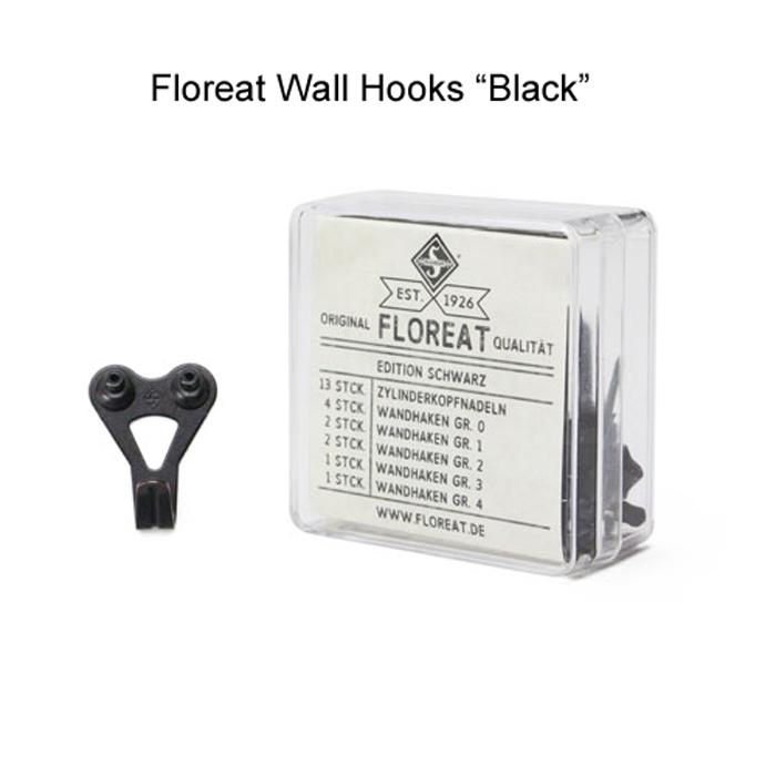"""シンプルなドイツ製壁掛けフック 壁面インテリア DIY 画鋲 フレーム掛け フック 壁掛け おしゃれ 目立たない Floreat 当店限定販売 フロリートウォールフック ブラック あす楽 """"black"""" Wall 吊り金 真鍮 数量は多 Hooks"""