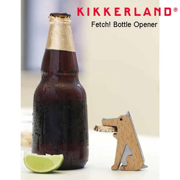 瓶のふたをフリスビーに見立てたかわいい木製ボトルオープナー キッカーランド フェッチボトルオープナー 栓抜き 犬 オブジェ ドッグ 販売期間 限定のお得なタイムセール 木製 かわいい 日本未発売