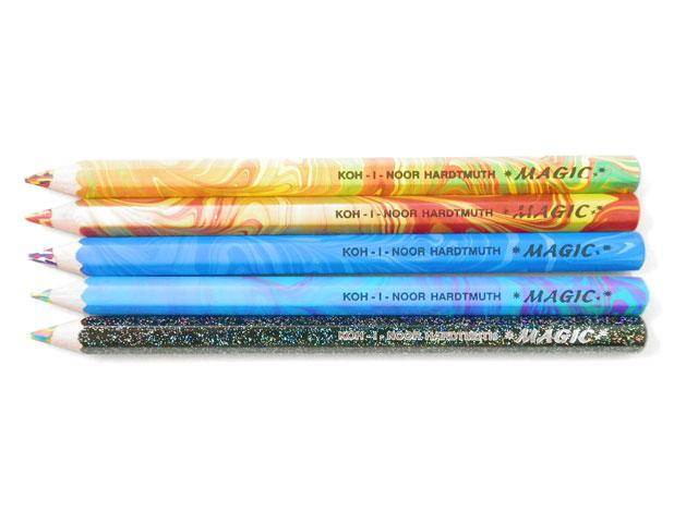 激安通販 おしゃれでかわいい不思議な色鉛筆 チェコの文具 マーブル ネコポス対応商品 KOH-I-NOOR コヒノール 本物 MAGIC マジック 太軸色鉛筆