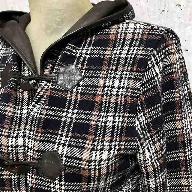 PUPULA(ププラ)チェックニットソーパイピングフード付きダッフルショートジャケット【select-shop】【セレクトショップ】【レディースファッション30代40代50代】