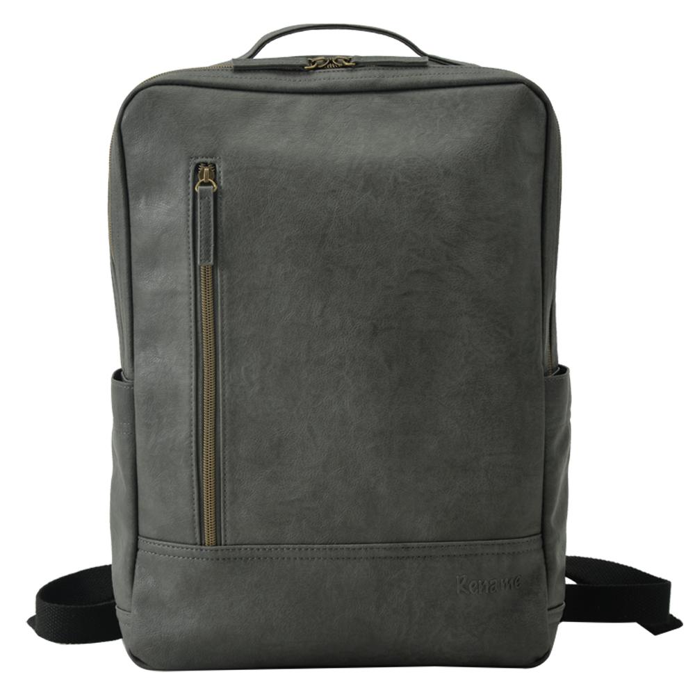 Rename 배낭 가방 통근 비즈니스 가방 비즈니스 남성 심플 스퀘어 A4 상표 유행 검은 가볍고 가벼운 사각형 뒷면 지퍼 캐주얼 비즈니스 가방 통 학 학생 페이크 레더 532P17Sep16
