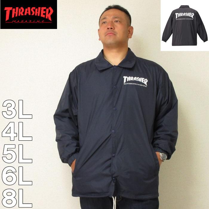 THRASHER スラッシャーの大きいサイズのコーチジャケット (本州四国九州送料無料)大きいサイズ メンズ THRASHER-コーチジャケット(メーカー取寄)スラッシャー 3L 4L 5L 6L 8L ナイロン アウター