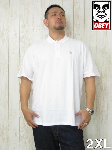 (5/31まで特別送料)大きいサイズ メンズ OBEY(オベイ)「EIGHTY NINE」半袖ポロシャツ<ホワイト><2XL>2XL USA アメリカ ストリート系 ブランド 半袖 ポロシャツ