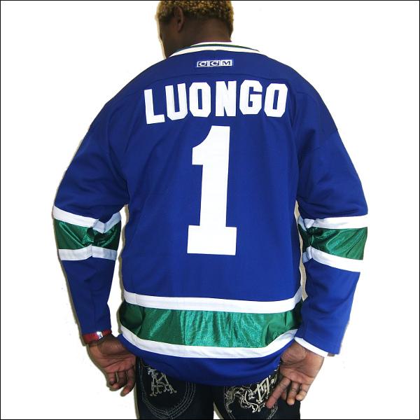 Vancouver Canucks (バンクバーカノックス) replica  アイスホッケーシャツ #1【LUONGO】アイスホッケー ゲームシャツ 大きいサイズメンズ メンズ大きいTシャツ ヒップホップ衣装 ダンス 衣装 ジャージ