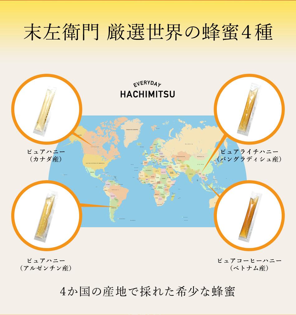 世界の はちみつ 4種類アソート 10g×10本×4 ピュアハニー アルゼンチン産 10本ピュアハニー カナダ産 10本 ピュアライチハニー バングラディッシュ産 10本ピュアコーヒーハニー ベトナム産 10本  蜂蜜