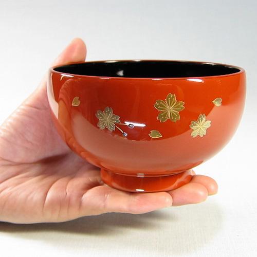 輪島塗 漆器 お椀 純金手描蒔絵 桜-オレンジ朱-
