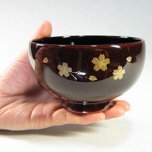 輪島塗 漆器 お椀 純金手描蒔絵 桜-溜-