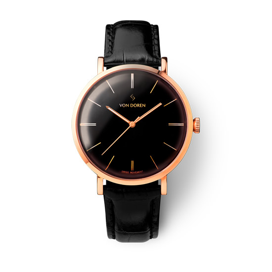 【VON DOREN】ヴァンドーレン Aksla Mark II Pure Black ローズゴールド 時計