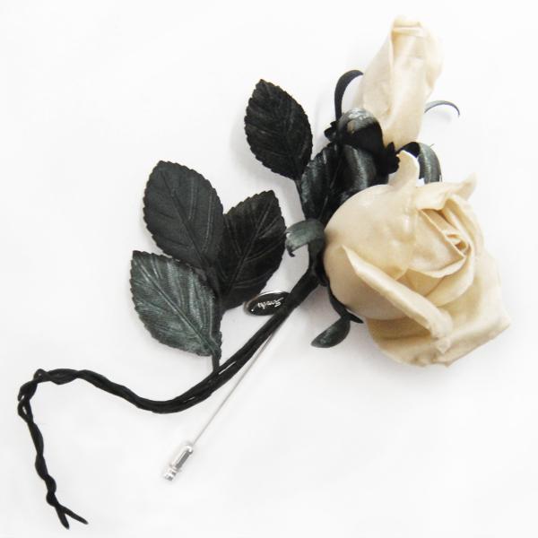 アトリエ染花 コサージュ バラのピンブローチ:ホワイト at-lu-rosepin-w|