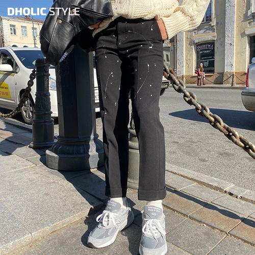 ペイントスラックスパンツ・p112527 【pt】【韓国 ファッション パンツ ズボン ロングパンツ スラックス ペイント 綿 コットン カジュアル ユニーク おしゃれ 秋冬】【STYLE】【メンズ】