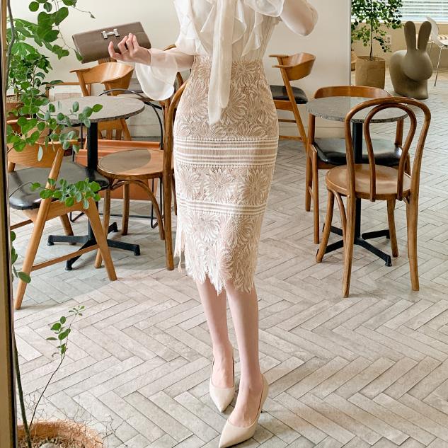 スリムレースミディスカート・p131922 レディースsk韓国 ファッション スカート ミディアムスカート ミディ丈 レース 総レース 透け感 シースルー シアー カジュアル かわいい ガーリー フェミニン 春STYLEUMVpGqSz
